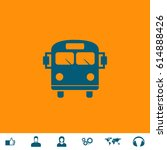 school bus. blue symbol icon on ... | Shutterstock .eps vector #614888426