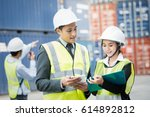 businessman and businesswoman...   Shutterstock . vector #614892812