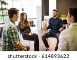 close up on discussion. close... | Shutterstock . vector #614893622