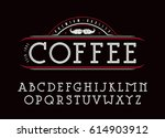 decorative slab serif font with ... | Shutterstock .eps vector #614903912