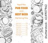 pub food menu  vector... | Shutterstock .eps vector #614907962