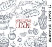 mediterranean cuisine template. ... | Shutterstock .eps vector #614909432