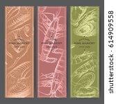 three vertical fish market... | Shutterstock .eps vector #614909558