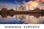 scenic taj mahal sunset view... | Shutterstock . vector #614916512