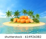 fresh oranges. concept of... | Shutterstock . vector #614926382
