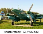 Small photo of MONINO, MOSCOW REGION, RUSSIA - September 22, 2008 Dive Bomber PE-2 (1940) in Central Air Force Museum in Monino. The basic front-line bomber of the Great Patriotic War 1941-1945.
