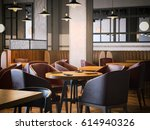 trendy restaurant with wooden... | Shutterstock . vector #614940326