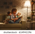 family before going to bed... | Shutterstock . vector #614941196