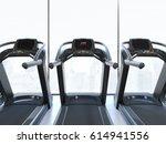 treadmills in interior with big ... | Shutterstock . vector #614941556