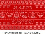 happy easter embroidered... | Shutterstock .eps vector #614942252