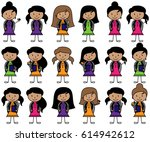 collection of hispanic or... | Shutterstock .eps vector #614942612