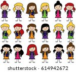 collection of cute stick figure ... | Shutterstock .eps vector #614942672
