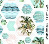 abstract summer hexagon shapes... | Shutterstock . vector #614943626