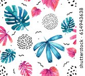 watercolor decorative exotic... | Shutterstock . vector #614943638