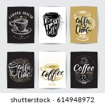coffee time hipster vintage... | Shutterstock .eps vector #614948972