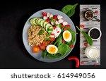 diet menu. healthy salad of...   Shutterstock . vector #614949056