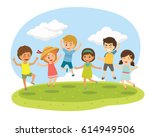 group of happy children jump... | Shutterstock .eps vector #614949506