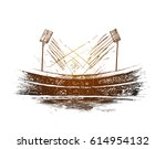 cricket championship with ball... | Shutterstock .eps vector #614954132