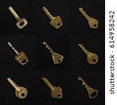 golden keys collection on black ... | Shutterstock . vector #614958242