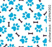 seamless pattern of blue animal ... | Shutterstock .eps vector #614964302