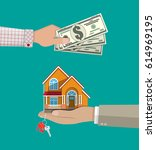 hands with money and house....   Shutterstock . vector #614969195