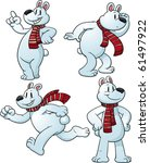 Cute Cartoon Polar Bear In...