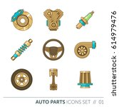 car spare parts  flat style...   Shutterstock .eps vector #614979476