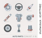 car spare parts  flat style... | Shutterstock .eps vector #614979482