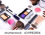makeup cosmetics  brushes and... | Shutterstock . vector #614982806