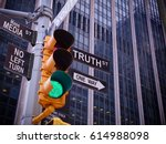 nyc wall street yellow traffic...   Shutterstock . vector #614988098