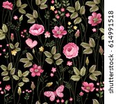 seamless floral pattern with... | Shutterstock .eps vector #614991518