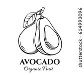 hand drawn avocado icon. vector ... | Shutterstock .eps vector #614993096