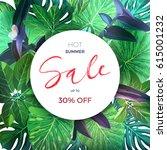 green botanical summer tropical ... | Shutterstock .eps vector #615001232