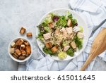 fresh caesar salad in white... | Shutterstock . vector #615011645