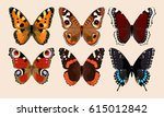 collection of butterflies | Shutterstock .eps vector #615012842