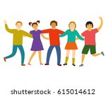 happy kids hugging each other... | Shutterstock .eps vector #615014612