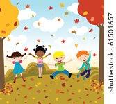 happy kids in autumn | Shutterstock .eps vector #61501657