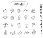 summer and holiday icons set.... | Shutterstock .eps vector #615023102