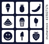 sweet icon. set of 9 filled...   Shutterstock .eps vector #615027176