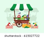 local market. stand with... | Shutterstock .eps vector #615027722