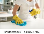woman using spray for cleaning | Shutterstock . vector #615027782