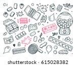 bubble gum set. hand drawn... | Shutterstock .eps vector #615028382