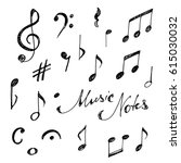 hand drawn music notes set.... | Shutterstock .eps vector #615030032
