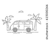 the tourist van with palm trees ... | Shutterstock .eps vector #615030266
