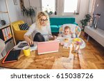 mother wearing eyeglasses... | Shutterstock . vector #615038726