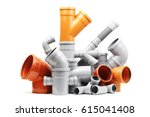 plastic pvc pipes  isolated on... | Shutterstock . vector #615041408