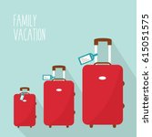 three red modern suitcase... | Shutterstock .eps vector #615051575