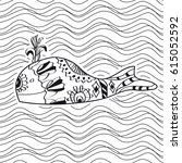 whale coloring book for adults... | Shutterstock .eps vector #615052592