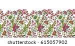 seamless floral banner frame.... | Shutterstock .eps vector #615057902