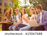 happy young teens group sitting ... | Shutterstock . vector #615067688